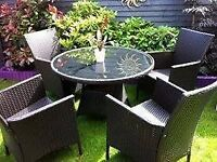 rattan large garden furniture large round table and 4 arm chairs & over hang parasol (next)pd £1000