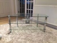 glass 3 tier tv stand unit