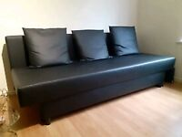 delivery Ikea Asarum sofabed storage 3 4 seat faux leather sofa bed modlAsarum like new