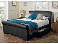 Santino Black Faux Leather Double Bed Frame