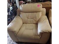 Champagne leather arm chair Copley Mill LOW COST MOVES 2nd Hand Furniture STALYBRIDGE SK15 3DN