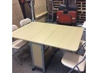 butterfly dinning tables with 4 chairs have 3 beech in stock and one mahogany