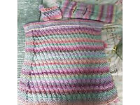 New hand Knitted Baby Blankets, one car and one other