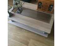 coffee table tv unit and various items