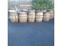Used oak whiskey barrels for the garden patio bar pub wedding