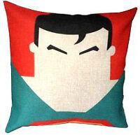 """NWOT-  Cartoon Superman Cotton/Linen Throw Pillow. 18"""" x 18 """""""