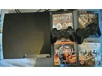 Sony PS3 Slim 120GB 2 Controllers and games