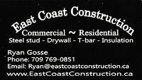 Steel Framing-Drywall-T bar ceiling-Insuation-Demolition