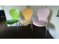 kitchen chairs-must go soon as!-green,pink,orange.
