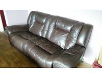 leather settee brownish recliner, bed. in two pieces, ( staveley)