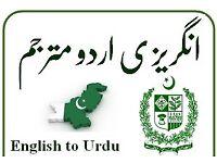 Professional Urdu English translator and Interpreter available