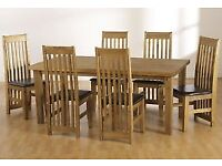 New Solid Block Dining table & 4 chairs SALE £329 in stock now