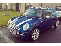 BMW Mini Cooper, Excellent condition, Petrol, Blue, chequred roof.