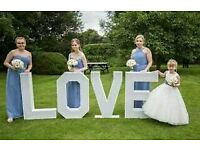 3ft LOVE letters £120 - with multicoloured, multi funtion LED lights. Perfect for weddings!
