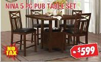 BRAND NEW 5PC DINING TABLE SET NO TAX. 50% OFF ON REG.PRICE
