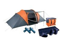 4 Man Tent Bundle with 4 Sleeping Bags and 4 Sleeping Mats in a carry case