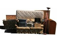 Warehouse full of used furniture in good condition: leather settees, tables, chairs, filing cabinets