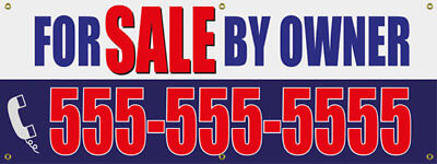 For Sale By Owner Personalized Heavy Duty Outdoor Vinyl Banner   Sign 72 X24
