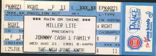 JOHNNY CASH FAM UNUSED FULL CONCERT TICKET NOT STUB 8/21/91 PINE KNOB CLARKSTON