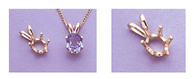 14kt White Or Yellow 6-prong Gold Oval Pendant Casting (5...