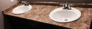BATHROOM COUNTERTOPS WITH SINKS AND FAUCETS