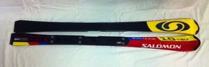 NEW: SKIS: Salomon Equipe 10-130cm  w/Salomon Bindings–Red/White