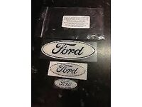 NEW SET OF 3 BLACK ON WHITE FORD GEL BADGE OVERLAYS FIT FIESTA ZETEC S/ST MK7 2008/2012 ONLY