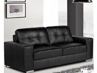 Perfect condition 3+2 black leather sofa free coffee table