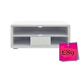 Cosmos Curved 1 Drawer Corner TV Unit In White High Gloss With LED Lights BRAND NEW - BOXED!!