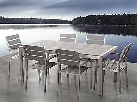 Outdoor Aluminum and Polywood Dining Set with 6 Chairs -VERNIO