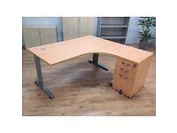 Stylish L-Shape Desk, Office Corner Desks, Crescent Desks & 3 Drawer Pedestal + 1 Key. (20 available