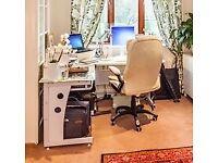White, glass topped corner desk
