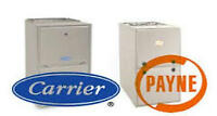 furnace replacement $2195-garage heater $1950-ac $2595-duct work