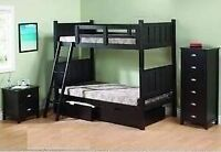 BRAND NEW FURNITURE SINGLE SINGLE DISTRESSED BLACK BUNK BEDS