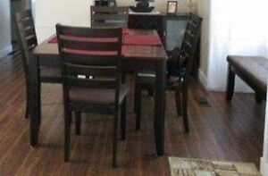 Dining table with butterfly leaf, 4 chairs, bench