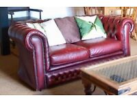 Chesterfield sofa, red leather, 2 seater