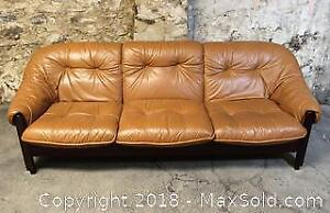 Mid Century Modern Brazilian Leather Sofa by Probel