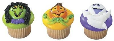 12 Ghost Witch Pumpkin Face Cupcake Rings Halloween - Halloween Cupcake Faces