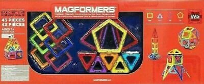 Magformers Magnetic Construction Set 43 Pieces 4 Geometric Shapes Rainbow 43 Geometric Shapes