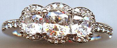 925 Silver 1.5 Carat Tw 3 Stone Cushion Cut Signity Cz Engagement Ring 7.75