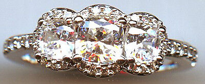 925 Sterling Silver 1.5 Carat Tw 3 Stone Signity Cz Engagement Ring 4.75