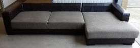 Corner Suite L Shaped Sofa Part Brown Leather Part Fabric