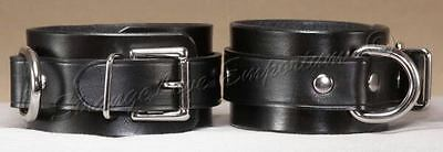 Lockable Black Leather Wrist Cuffs Hand Made in the USA goth punk metal