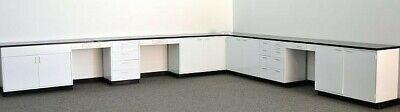 Used, 32' White Laboratory Cabinets / Bench Furniture w/ Desk Areas & Top  / E1-102 for sale  Rockford