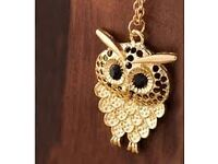Women Cute Owl Pendant Long Sweater Chain Necklace