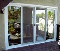 "4 WHITE VINYL ""THERMAL"" SLIDING TEMPERED GLASS DOORS - 78""H x 36"
