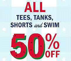 50% OFF ALL LADIES, SWIMWEAR, BRAS, SHORTS AND TOPS.