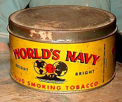 Antique early Worlds Navy Plug Tobacco tin London Ontario image 2