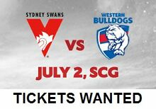 WANTED: Sydney Swans vs Western Bulldogs - up to 5 Adult tickets Sydney City Inner Sydney Preview