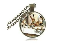 Mad Hatter Alice In Wonderland Glass Pendant Necklace